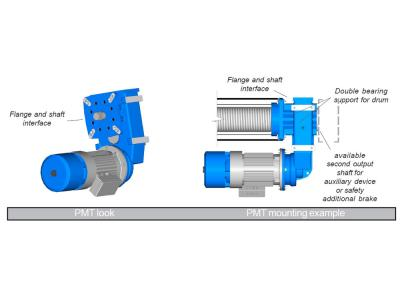 FLANGE AND SHAFT DIRECT ON DRUM